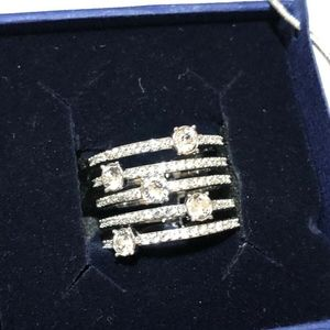 Swarovski stack rings Rhodium plated Size 52/6USA